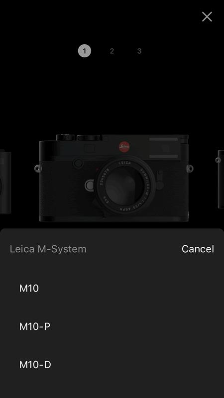 M10、M10-P、M10-Dの3種類から接続するカメラを選択